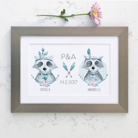 Personalised Raccoon Wedding Boho Print